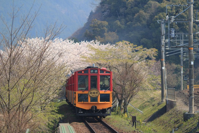 Old train at Kameoka Torokko Station Kyoto.