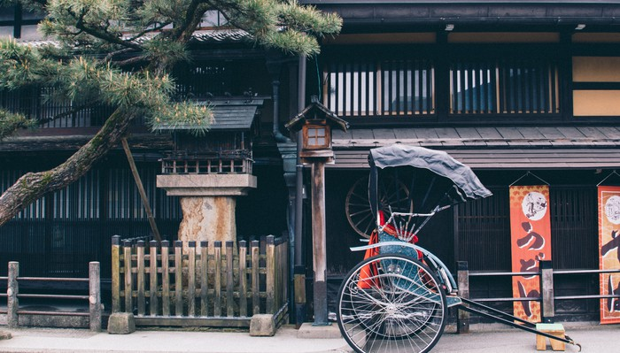 Old Street with rickshaw in Japan