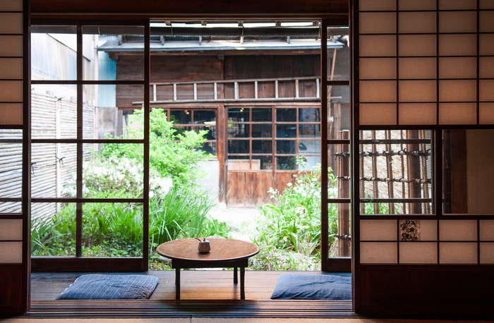 Old Japanese houses interior with sliding doors
