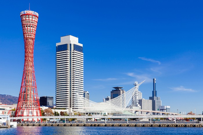 Famous skyline of the Port of Kobe, Japan
