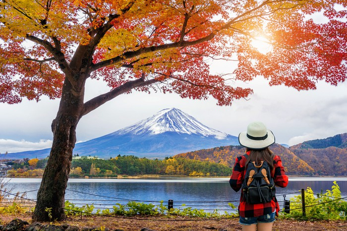 Woman traveler with backpack looking to Fuji