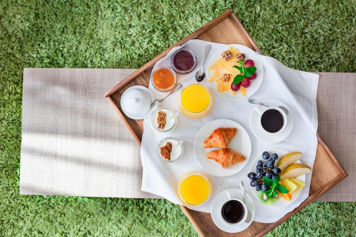 Fresh breakfast isolated no people room service