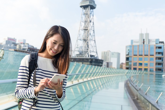 Woman use of cellphone for finding location in Nagoya city
